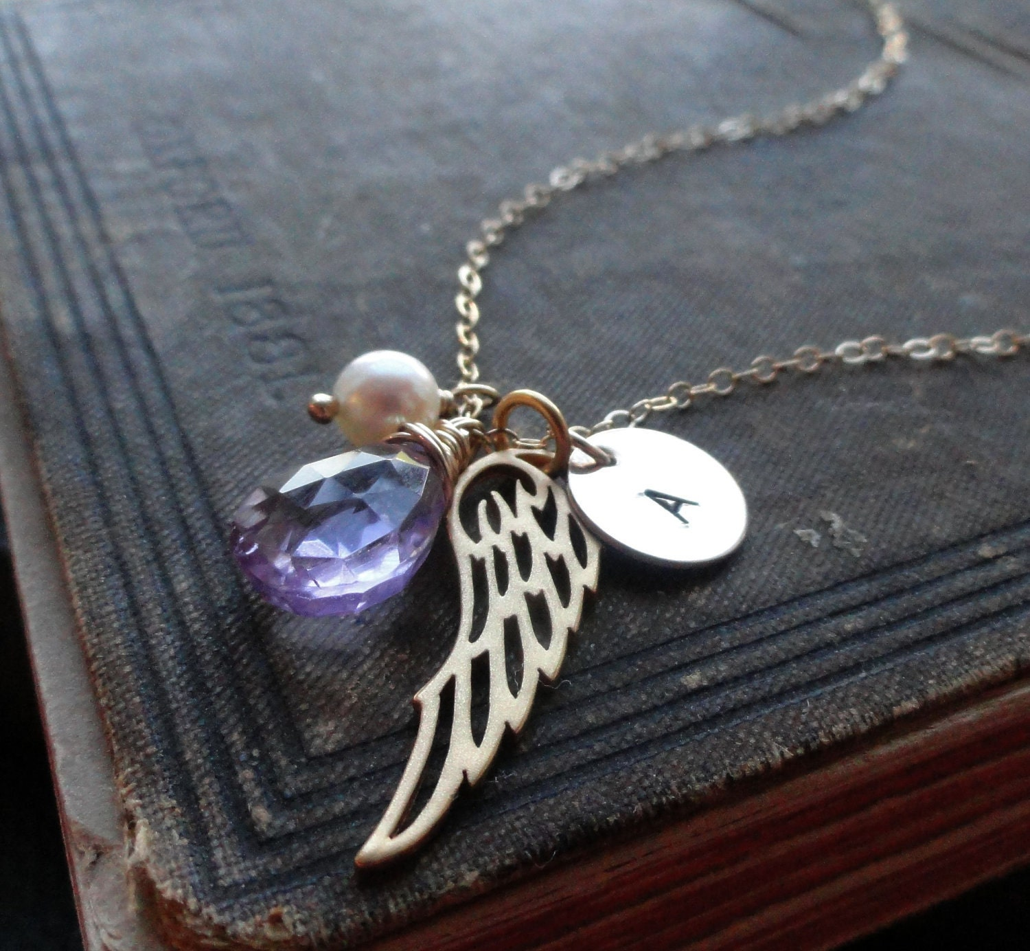 Custom personalized jewelry, gold angel wing necklace with birthstone and initial necklace, personalized birthstone necklace