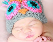 Camila Theowl handmade crochet Hat Newborn -to 10 years old  Please read shop Announcement Before buy