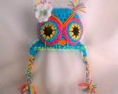 TITA  the  Owl  handmade crochet Hat    Newborn to 5 years old
