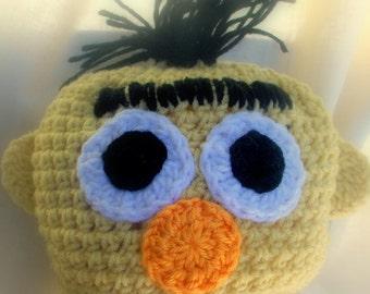 Ernie Crocheted Baby Hat  Sesame Street  Handmade crochet Hat newborn to 6 years old