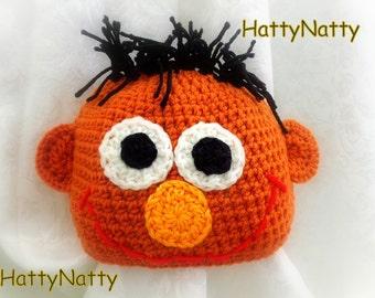 Ernie  Crochet hat Sesame Street  Handmade crochet Hat newborn to 6 years old