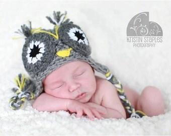 Newborn crochet owl hat, newborn Halloween costume,baby owl costume,newborn owl prop, baby girl owl hat, baby boy crochet owl hat