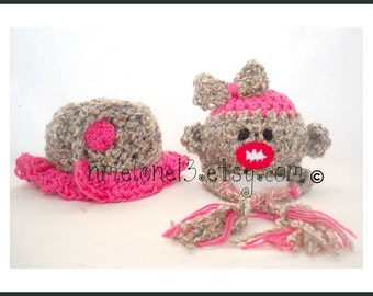 Sock Monkey Pink  Diapercover skirt  and Hat SET Newborn to 12 months ----- Before buy read Shop Announcement