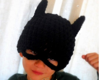 All sizes are ready to go Batman hat, crochet batman hat, batman childrens hat,  costume batman hat, costume  batman