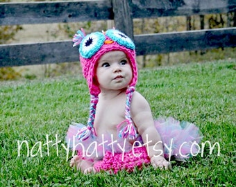 Crochet owl  set   Hat With earflaps   and  tutu pants , baby Halloween costume, newborn halloween cotume, owl costume,