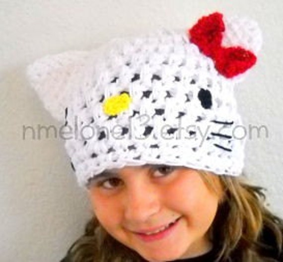 hELLO KITTY Handmade crochet Hat 0 to 10 years old