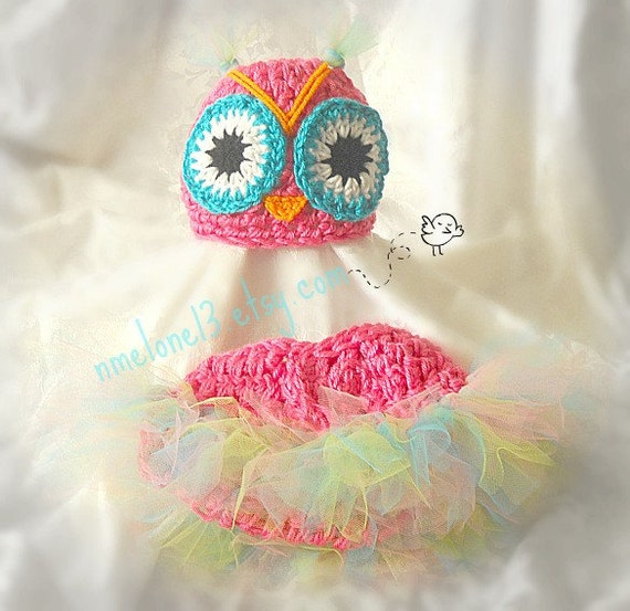 Estefania The owl  set   Hat   and  tutu diaper cover Newborn,0-3 months,3 to 6months , 6 to 12 months