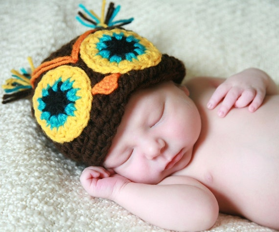 15% OFF use coupon code XMASJULY----Cuco the owl  handmade crochet Hat  Newborn to 5 years old
