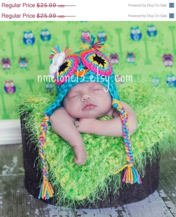 TITA  the  Owl  handmade crochet Hat    Newborn to 5 years old