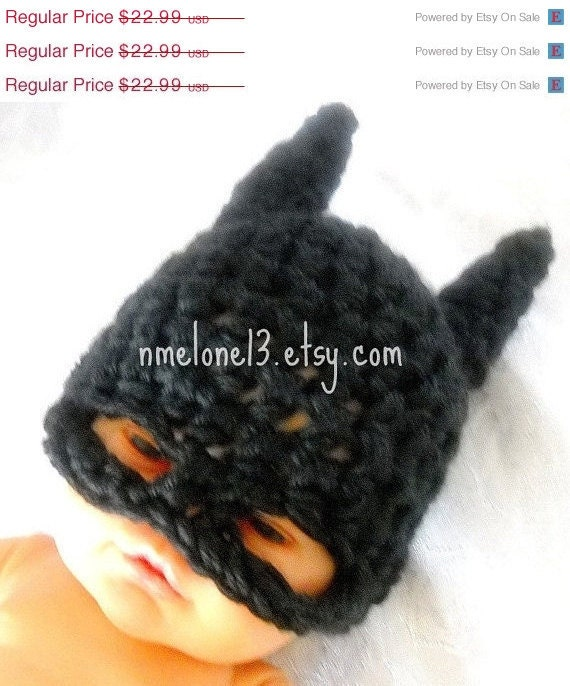 Batman  handmade crochet  Hat 0 to 3 years old years old