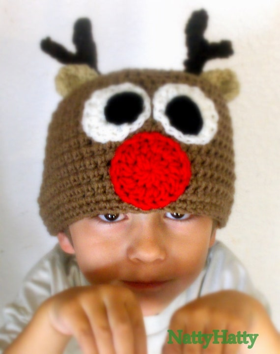Rudolph The Red Nose Handmade crochet Hat Cap Beanie Skull