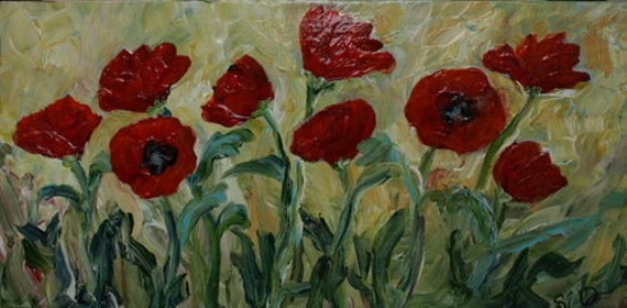 Abstract Poppy Poppies Floral Flowers Orginal Painting Glossy SALE