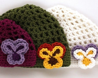 Instant Download - Crochet Pattern - Summer's Hat with Pansy (Newborn to Adult)