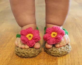 Instant Download - Crochet Pattern - Jute Sunshine Sandal (Newborn to 2 yrs.)