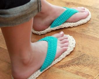Crochet Slipper Pattern - Adult Flip Flops (Child/Adult sizes 3-10)