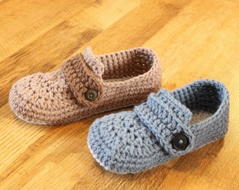 Crochet Mens Slipper Pattern - Opa Slippers (Child/Men sizes: 1-13)