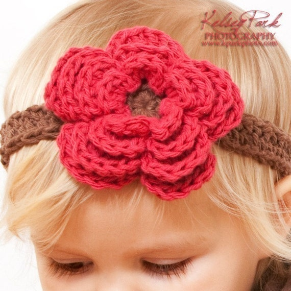Crochet Pattern For A Flower Headband : Headband Flower and Bow Crochet Pattern all sizes