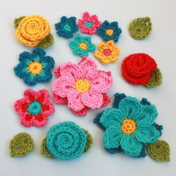 Crochet Patterns Etsy : Crochet Flower Patterns Flower Shower by Mamachee on Etsy