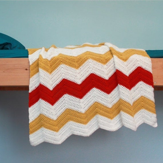 Crochet Patterns Chevron : Crochet Blanket Pattern Chevron Blanket by Mamachee on Etsy