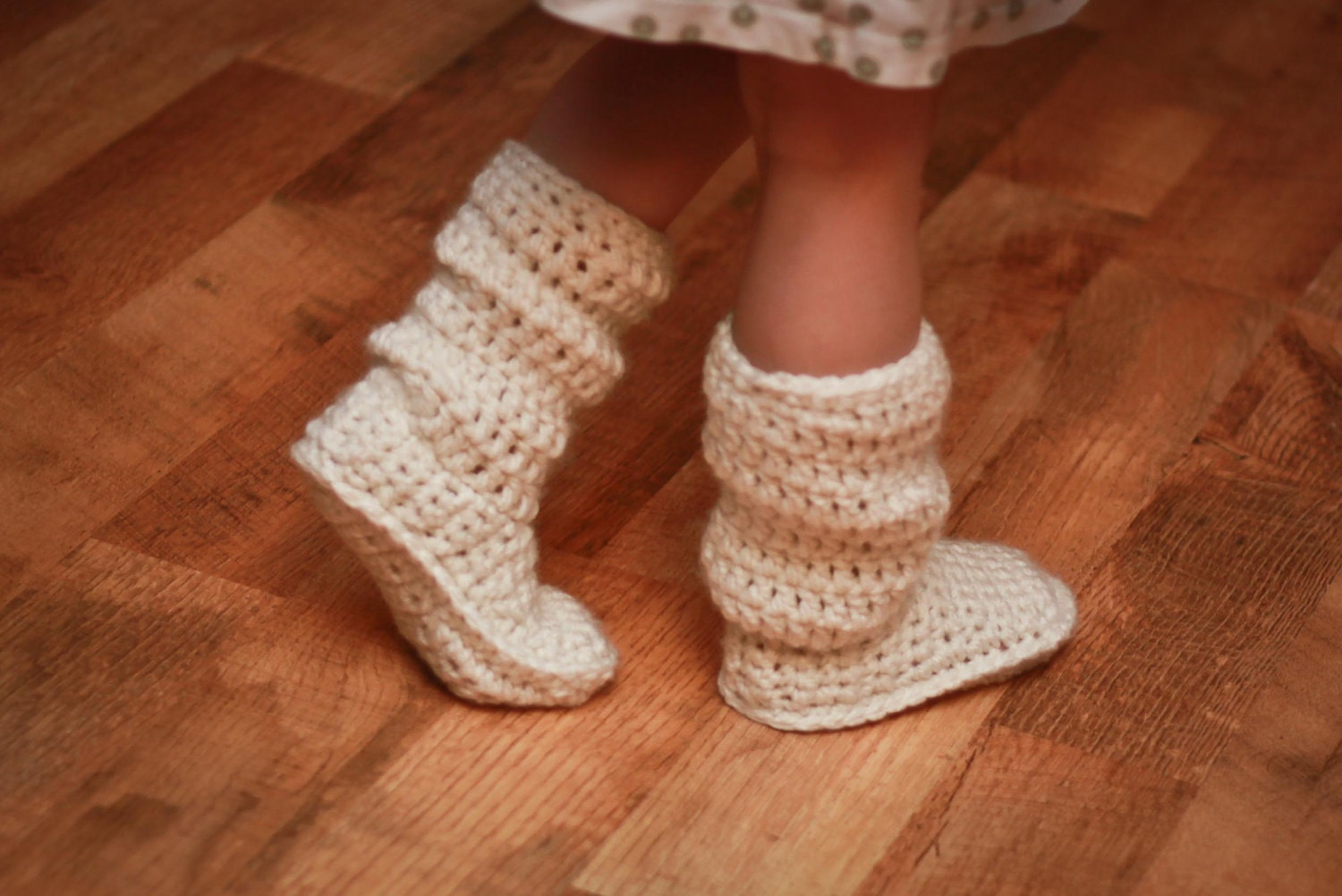 Crochet Baby Slipper Boots Free Pattern : Crochet Pattern Mamachee Boots Baby to Child Sizes