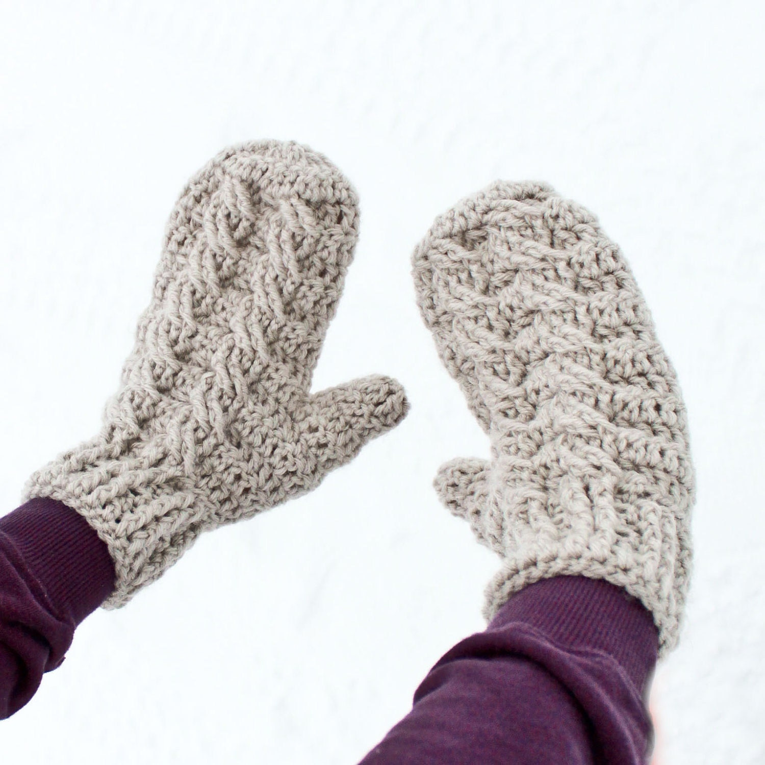 Free Crochet Pattern For Chunky Mittens : Instant Download Crochet Pattern Cable Mittens and Cowl
