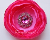 Hot Pink Flower Singed Satin Jeweled Hair Clip Brooch Bobby Pin or Magnet