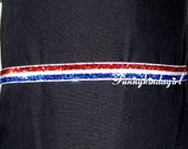 Skinny Red White Blue Glitter Elastic Headband 3/8 inch Striped Sparkle Interchangeable Custom Sized Bookmark Notebook Band