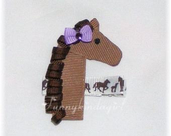 Horse Ribbon Sculpture Hair Clip Pony Pin or Magnet M2MG Cowgirls At Heart Equestrian Club or Choose Custom Colors