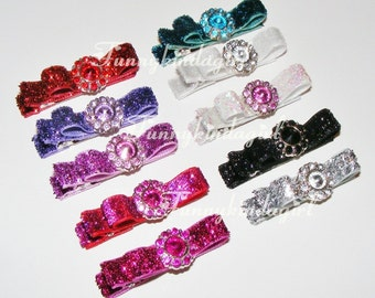 Sparkle Bar Bows with Mini Rhinestone Button Centers Hair Clippie Barrettes Pick a Pair