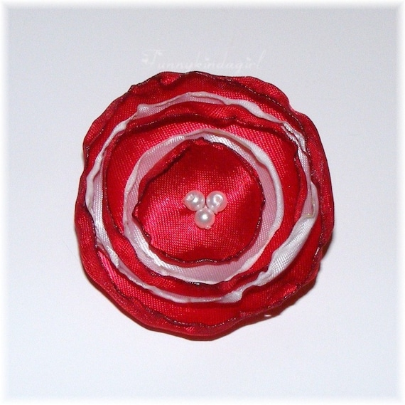 Red & White Singed Satin Poppy Flower Hair Clip Bobby or Pin Valentines Day Candy Cane