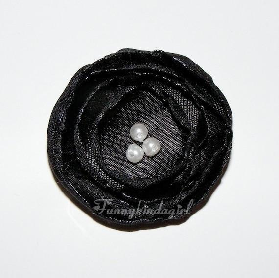 Black Singed Satin Poppy Flower Hair Clip Bobby or Pin White Pearl Beaded Burnt Edge
