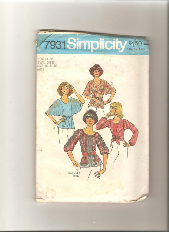 Vintage 1970s Simplicity 7931 Sewing Pattern Set of Boho Blouses Cape Sleeves UNCUT Size 18  20