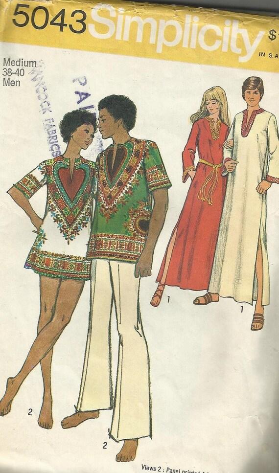 1970's VTG Pattern Simplicity 5043 Dashiki Caftan Men's 38-40 Sewing Pattern UNCUT