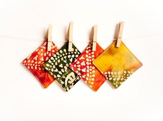 Green Orange Mustard Colorful Coasters Fabric, Cup Mat Mug Rug  by Chapulin ( set of 4 )