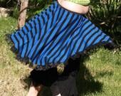 High Low Skirt Full Circle Blue Black Stripes