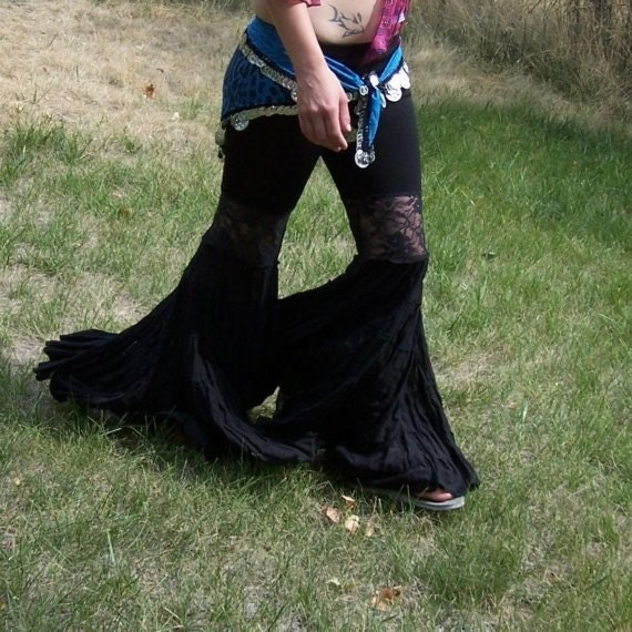Ruffle Bell Bottom Pants Belly Dance Tribal Gothic and Funky
