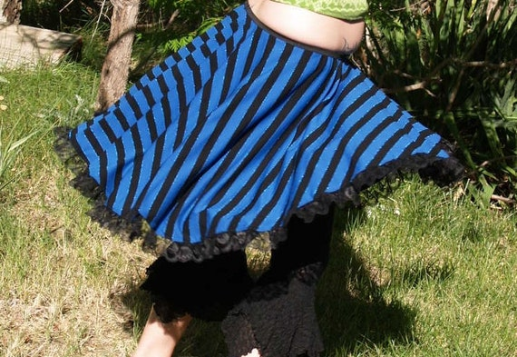 High Low Skirt Full Circle Blue Black Stripes