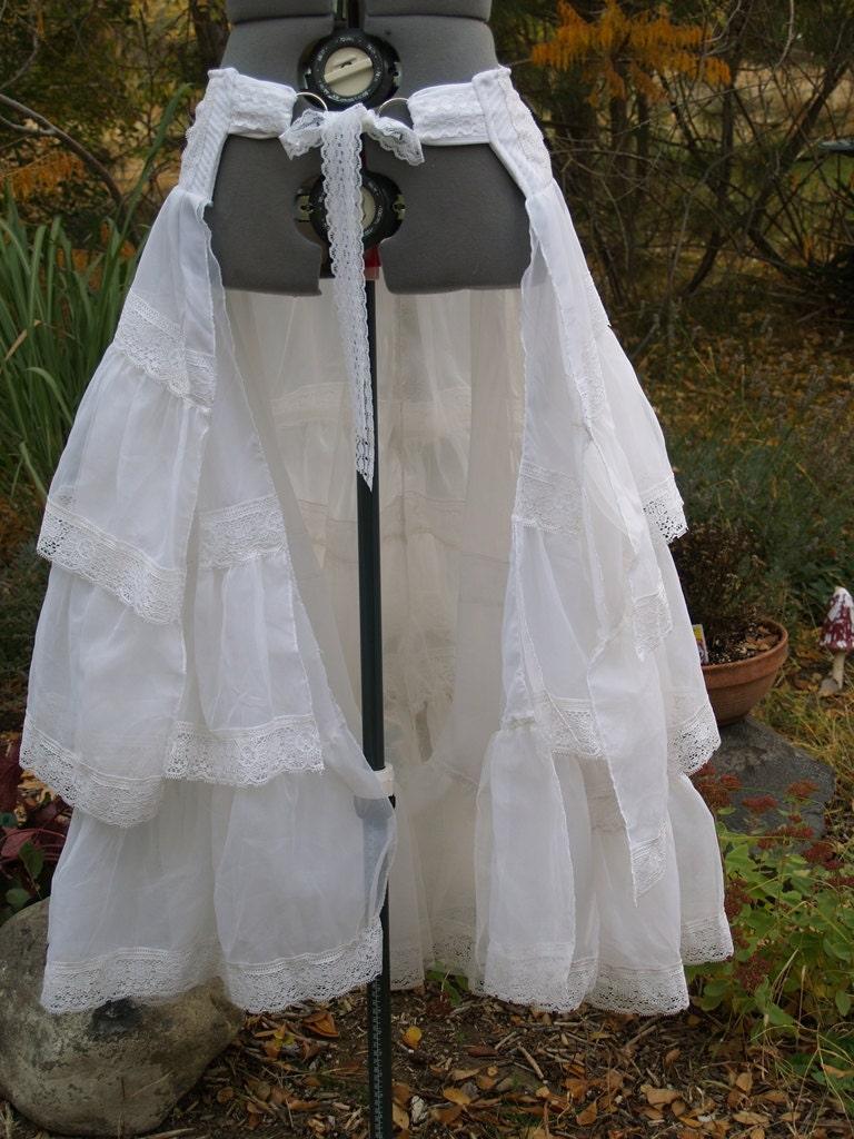Bustle Skirt Steampunk Victorian Wrap White