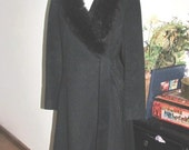 Black Wool Coat w Fur Collar