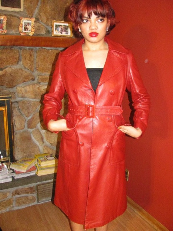 Regent Fur Co. Red Leather Trench Coat