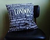 Upcycled London Tea Towel Throw Pillow Cover