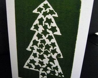 Hand printed lino christmas tree card