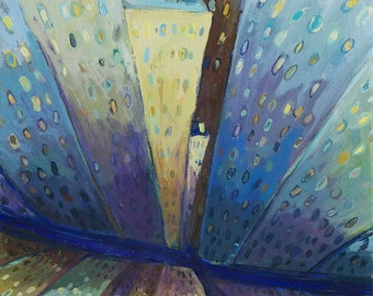 New York City Arabesque- New York City Art-Original Painting Oil on Canvas,cityscape, blue, yellow surreal view