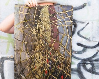 The Golden Net - The Brooklyn Bridge - original painting, Illustration, New York City Art
