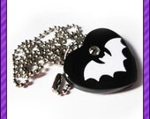 Black and White Bat Heart Necklace