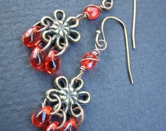 Red Brass Flower Short Dangle Earrings