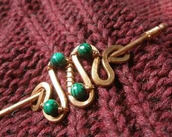 Green Malachite Hammered Copper Cloak Pin Sweater Pin Shawl Pin