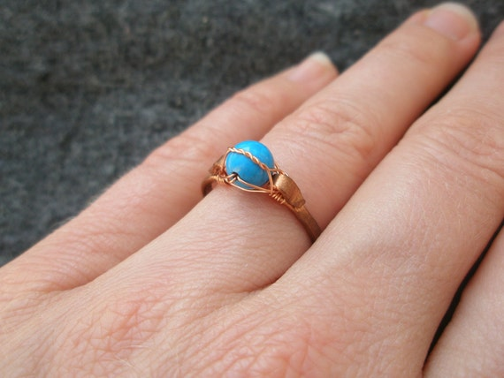 Little Blue Turquoise Bead Hammered Copper Ring Recycled Copper
