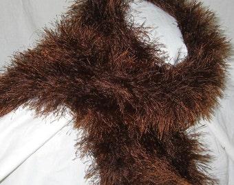 Brown Fun Fur Ascot Scarf