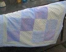 Blue green purple chenille patchwork quilt pastel beachy cottage throw blanket wheelchair lap quilt